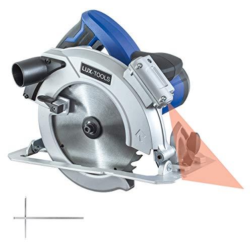 LUX-TOOLS HKS-1600 Handkreissäge mit neigbarem Sägeschuh & Laser-Schnittführung, inkl. Parallelanschlag & Staubsaugeranschluss   230V 1600W Kreissäge mit einem Sägeblatt-Ø von 185mm x 20mm