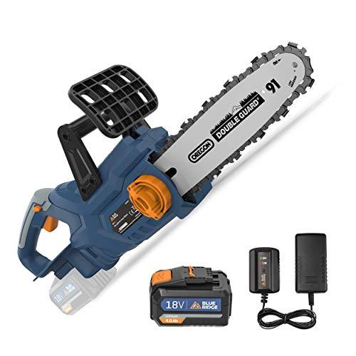 BLUE RIDGE 18V Akku Kettensäge BR8350 4,0Ah Li-Ion-Akku Elektro Kettensäge 25cm Schwertlänge Motorsäge mit Kettenbremse Rückschlagschutz automatische Kettenschmierung für Holz und Gartenarbeit